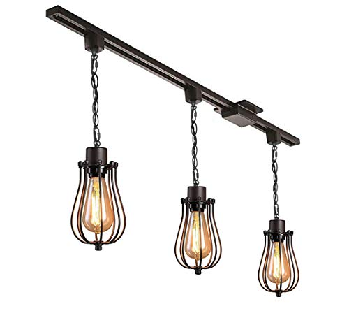 KIVEN 3 Pack H Track Mounted Fixture, Kitchen Lighting Island Pendant Light Modern Industrial Edison Vintage Style - Rail Cord Pendant Mounted