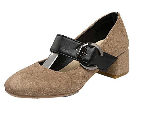 VogueZone009 Damen Blend-Materialien Quadratisch Zehe Mittler Absatz Rein Pumps Schuhe Kamel Farbe