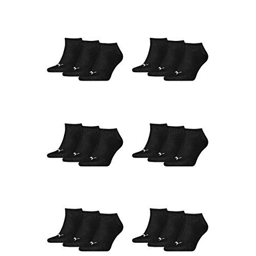 18 pair Puma Sneaker Invisible Socks Unisex Mens & Ladies 200 - black