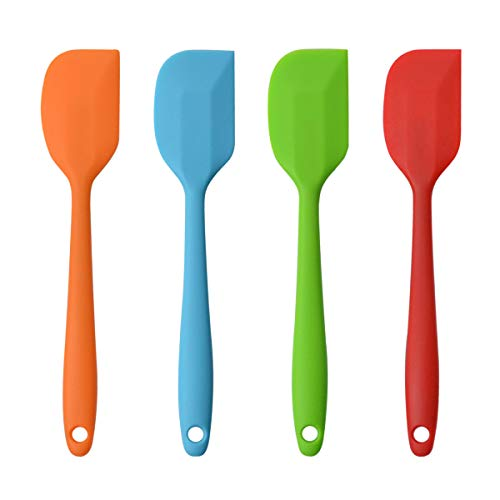 Silicone Spatulas, 10 inch Large Heat Resistant Non-Stick Flexible Rubber Scrapers Bakeware Tool Essential Cooking Gadget (4 Pack)