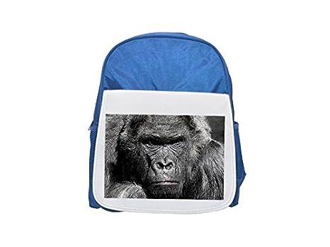 Gorilla, Monkey, Ape, Zoo, Silverback Mochila estampada azul infantil, mochilas lindas