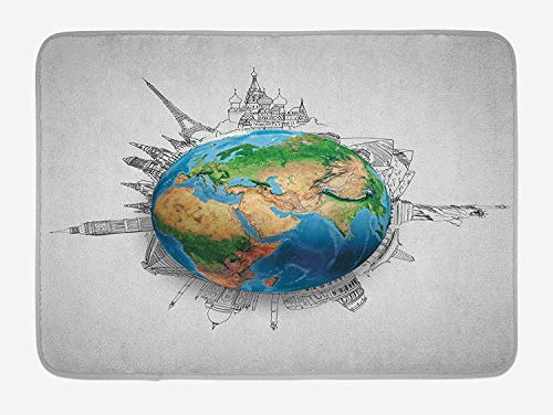 Earth Bath Mat, Globe of Planet Earth Realistic Continents Geography Theme Pencil Sketch, Plush Bathroom Decor Mat with Non Slip Backing, 23.6 W X 15.7 W Inches, Blue Green Pale Brown