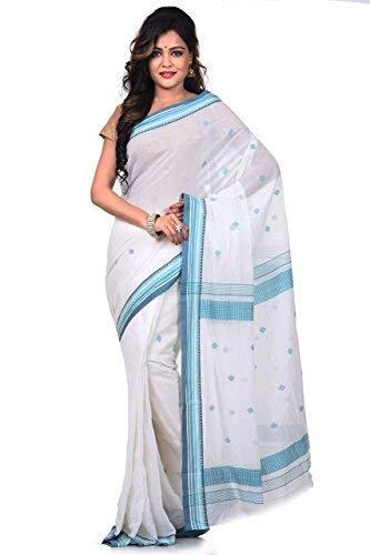 (Bengal Handloom Saree Women's Pure 100 Count Cotton Tangail Azo Free Dye XXXXX-Large White)