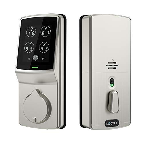 Lockly Keyless Entry Smart Lock, PIN Genie Door Lock (PGD 728) with Discreet Peek-Proof Touchscreen Keypad, Bluetooth Enabled, Auto Lock, Battery Backup & Easy Installation (SatinNickel)
