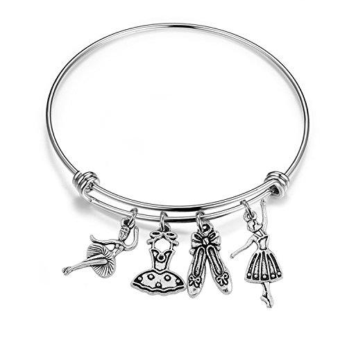 CHOROY Ballerina Charm Bracelet Girls Dance Jewelry Ballet Shoes Charm Bangle Ballet Bracelet for Dancer (Ballet Bangle) ()