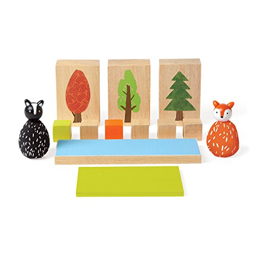 MiO Wooden Animal and Woodland Toy Modular Building Blocks Set - 14 Piece Imaginative Play Kit by Manhattan Toy