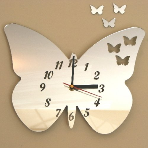 Butterflies Out of Butterfly Clock Acrylic Mirror 25cm X 20cm