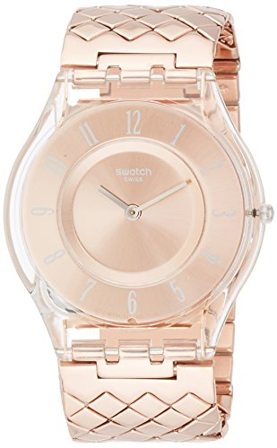 Swatch Pink Cushion Rose Gold Dial Stainless Steel Ladies Watch SFE110GB