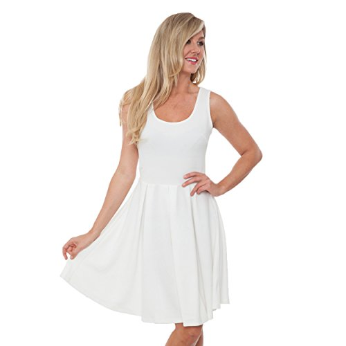 White Mark Women's Crystal Fit & Flare Sundress L Ivory from White Mark