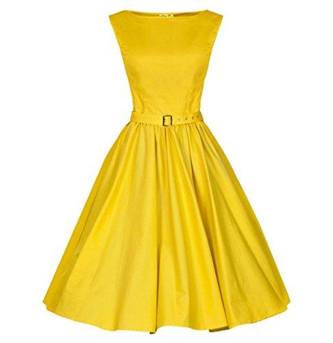 Robes Vintage De Daroj Femmes De Style Chic Audrey Hepburn 1950 Sans Manches Jaune
