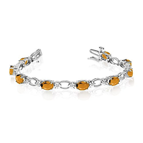 Jewels By Lux 14k White Gold Natural Citrine And Diamond Tennis Bracelet