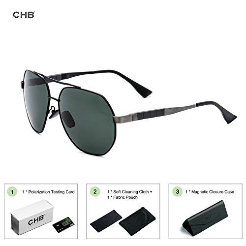 CHB Gafas Marco Aviador Protección Ligeras Sol de 400 Para Con Hombres Metal de UV Estuche Polarizadas Gafas Ejercicio Hacer rAwqx4rF5