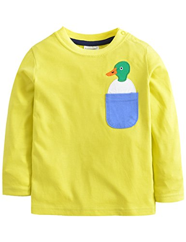 Dola-Dola Little Toddler Girls Long Sleeve T-shirt Cotton Cartoon Pullover Tops by CG103 (4T, Bright Yellow) - Edge Long Sleeve Thermal Shirt