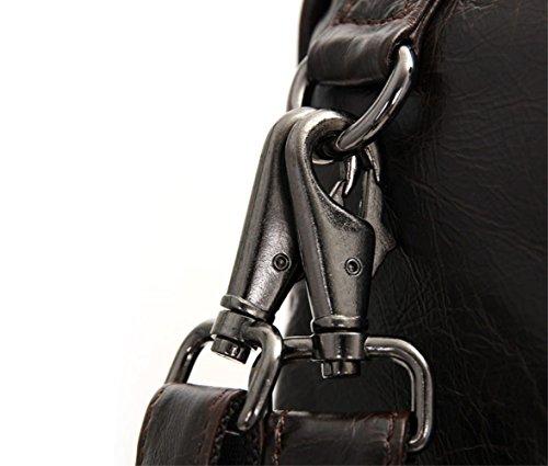 ZYXCC Herrenhandtaschen Frühling und Sommer beiläufige Doppel-Schulter-Tasche Retro-Mode tragbaren Aktentasche Business-Tasche schwarz braun Schultertasche erste Schicht Leder Umhängetasche Black 1t3fj