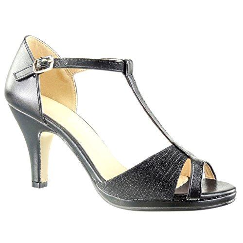 Angkorly - Scarpe da Moda scarpe decollete sandali cinturino sexy donna lines Tacco a blocco tacco alto 8.5 CM - Nero