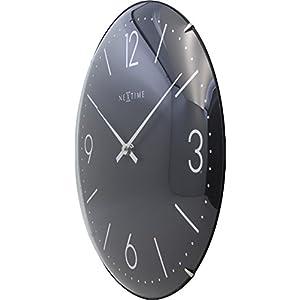 "NeXtime Reloj de pared ""BASIC DOME"", muy silencioso, redondo, negro, ø 35 cm 5"