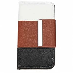 Three Color PU Leather ID Card Slot Protector Case For iPhone 5 5S --- Color:Red