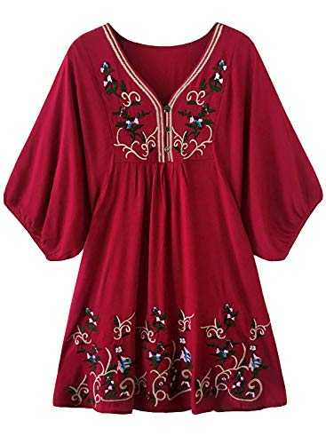 futurino Women's Bohemian Embroidery Floral Tunic Shift Blouse Flowy Mini Dress Burgundy