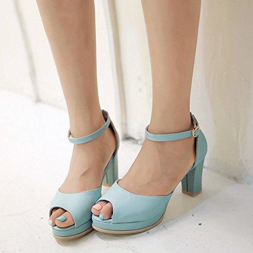 RAZAMAZA Mujer Peep Toe Sandalias Tacon Ancho Al Tobillo Zapatos Fiesta Azul