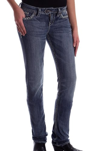 - Silver Jeans Women Tuesday Straight Leg Floral Embroidered in Med Blue