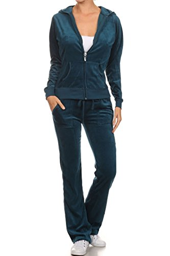 TOP LEGGING TL Women's Soft Velour Jogging Track Suit Sport Zip Up Hoodie & Sweat Pants Sets 001_DARKTEAL 2XL
