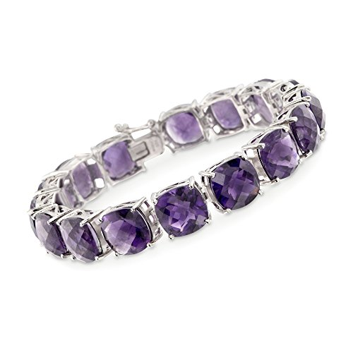 Ross-Simons 55.00 ct. t.w. Amethyst Tennis Bracelet in Sterling Silver -