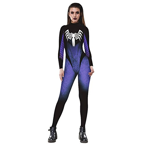 Womens Halloween Party Cosply Catsuit,3D Jumpsuit Romper (Small, Venom (Venom Costume For Women)