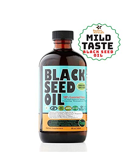 MILD Taste Black Seed Oil Liquid - 2.20%+ Thymoquinone Pungent Flavor Cold Pressed Source of Omega 3 6 9 Black Cumin Seed Oil from 100% Genuine Nigella Sativa - 8 oz Glass Bottle by Sweet Sunnah ...