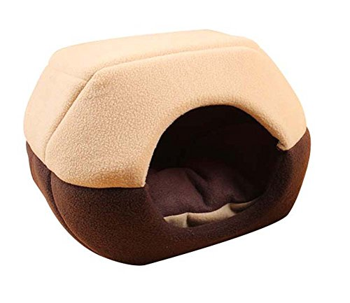 Freerun Cozy Pet Dog Cat Cave Mongolian Yurt Shaped House Bed with Removable Cushion Inside - Coffee, L (Beds Cat Discount)