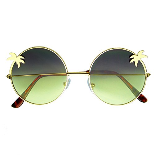 Emblem Eyewear - Indie Palm Tree Gradient Lens Round Hippie Sunglasses - Sunglasses Palm Trees With