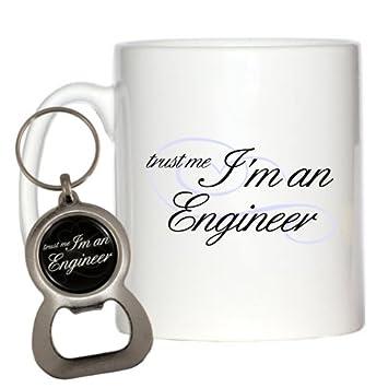 Trust Me I m un ingeniero 10 oz taza y llavero abridor de ...
