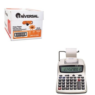 KITUNV21200VCT12082 - Value Kit - Victor 1208-2 Two-Color Compact Printing Calculator (VCT12082) and Universal Copy Paper (UNV21200)