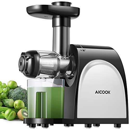 Juicer, Aicook Slow Masticating Juicer, Cold Press Juicer Machine, Higher Juicer Yield and Drier Pulp, Juice Extractor with Quiet Motor and Reverse Function, Easy to Clean