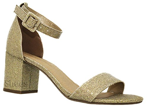 - MVE Shoes Chunky Block Heel Dress Sandal Over Toe & Ankle Wrap Strap, Gold Shmer 7.5