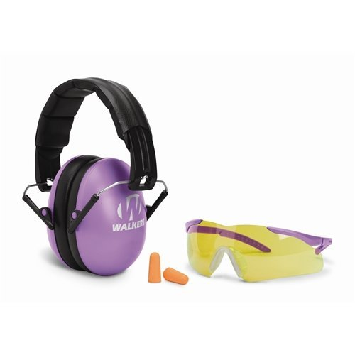 GSM Outdoors GWP-YWFM2GFP-PUR Walkers Game Ear Youth and Women Folding Purple Muff/Glasses/Plug Combo, Black/Purple by GSM Outdoors