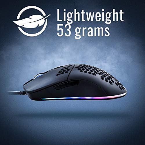 Snpurdiri S1 Pro RGB Lightweight Gaming Mouse PMW3360 12000 DPI Optical Sensor with Lightweight Honeycomb Shell Ultralight Ultraweave Cable(65G) 41xvoI b1eL