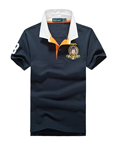 Shin Ken Classic Bussiness Short Sleeve Polo Shirts Casual Golf T shirt For Men Boys Youth(S, Navy Blue) (High End Costumes For Men)
