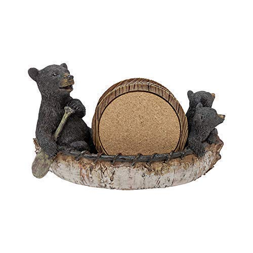 Pine Ridge Rustic Chic Drink Coaster Set With Holder for the Man Cave Old West Decor Rustic Hunter Cabin Theme Cabin Dining Furniture Gun Gifts for Men (3 Black Bears Canoeing)