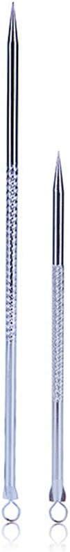 Lurrose - Juego de 2 extractores de puntos negros para acné, aguja para limpiar puntos granulados, herramienta extractora de comedones (plata)