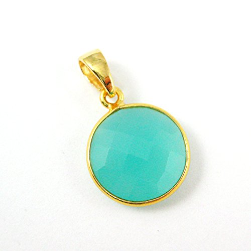 Bezel Gem Pendant with Bail - Peru Chalcedony - 22K Gold plated Vermeil Round Coin Faceted Gemstone ()