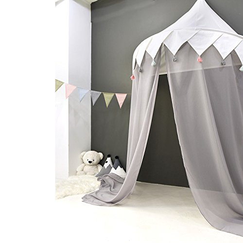 HAN-MM Hanging Bed Canopy Princess Play Tent Round Hoop Netting Mosquito Net Bedroom Décor with Grey Sheer and Tassel