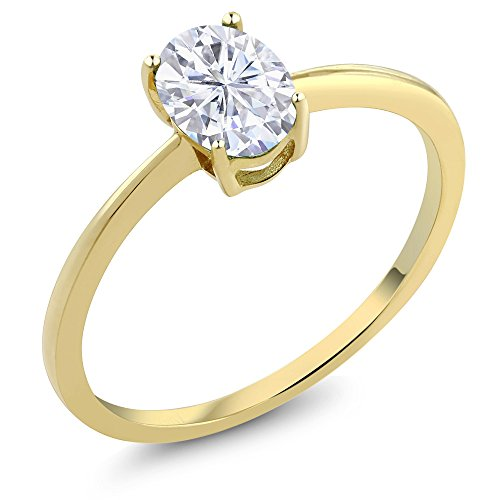 0.84 Ct Oval White Created Moissanite 10K Yellow Gold Solitaire Engagement Ring (Sizes (Yellow Gold Created Moissanite Solitaire)