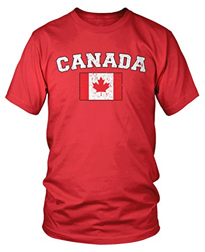 Amdesco Men's Canadian Flag, Flag of Canada, Canada Flag T-shirt, Red Large - Canada Apparel