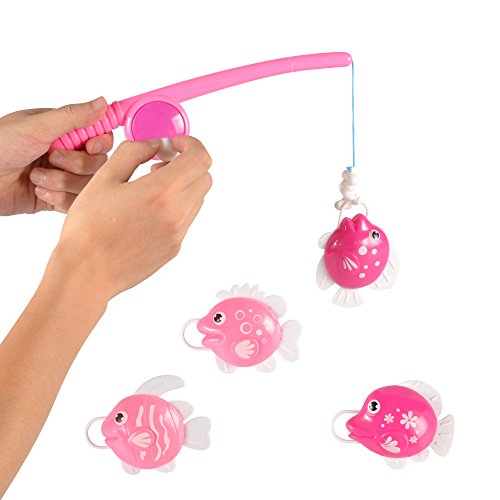 Pink Rod and Reel Fun Fishing Game Pretend Play Bath Toy Set with 4 Fish