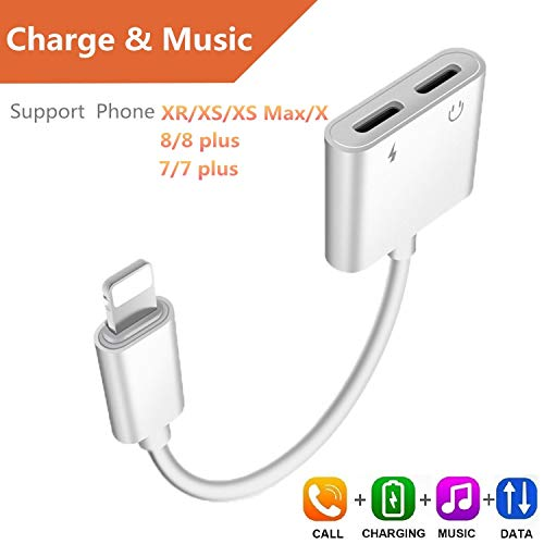 ebasy Compatible Phone 7/8 / X /7 Plus /8 Plus, 2-in-1 Lighting Splitter Adapter Dual Lighting Headphone Audio Charge Adapter.(Compatible iOS 10.3, iOS 11 Later)-[White]