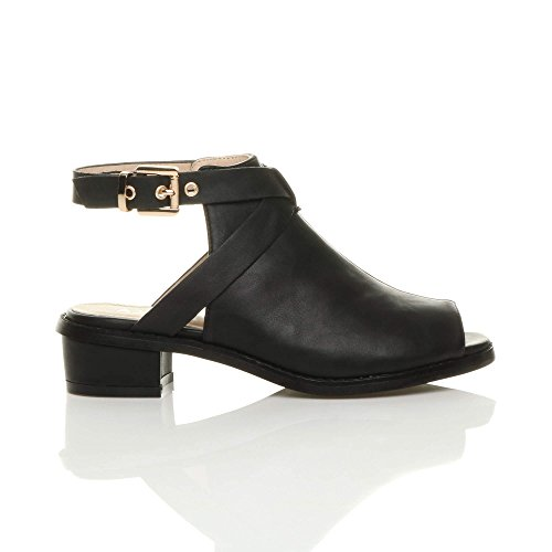 Back Peep Heel Toe Strap Size Matte Women Ajvani Open Boots Sandals Ankle Low Black wI4EX