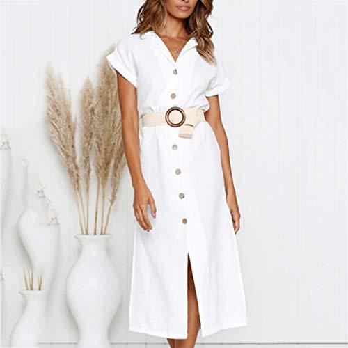 Lankcook Shop Women V Neck Casual Solid Above Knee Dress Sleeve Loose Party Split Dress -