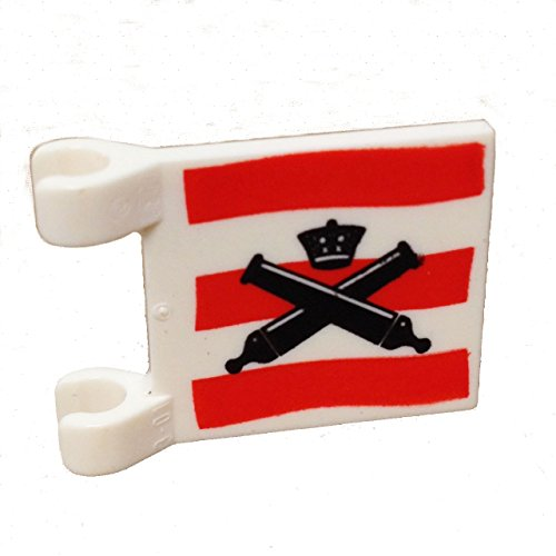 Flag Battle Square (Lego Parts: Flag 2 x 2 Square with (Crossed Cannons over Red Stripes))
