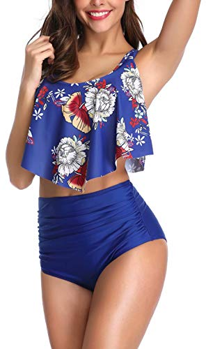 Blue Floral High Waisted Swimsuit Tummy Control Two Pieces Ruffled Top Swimwear