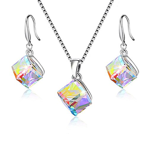 Uloveido Girl's Square Cube Austrian Crystal Hook Earrings and Necklace Sets for Women - 925 Sterling Silver Wedding Engagement Jewelry Sets Rainbow Color Y418 Cube Swarovski Austrian Crystal